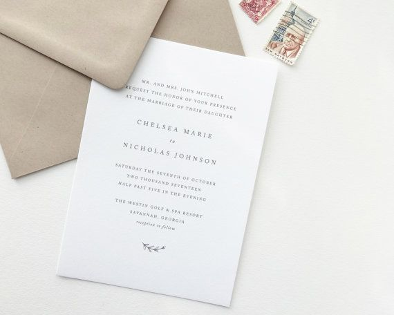 Chelsea Wedding Invitation | Classic, timeless letterpress wedding invitations from August + White | Simple Wedding Invitation | Wedding Invites | Save the Dates | Wedding Stationery | Deckled Edging