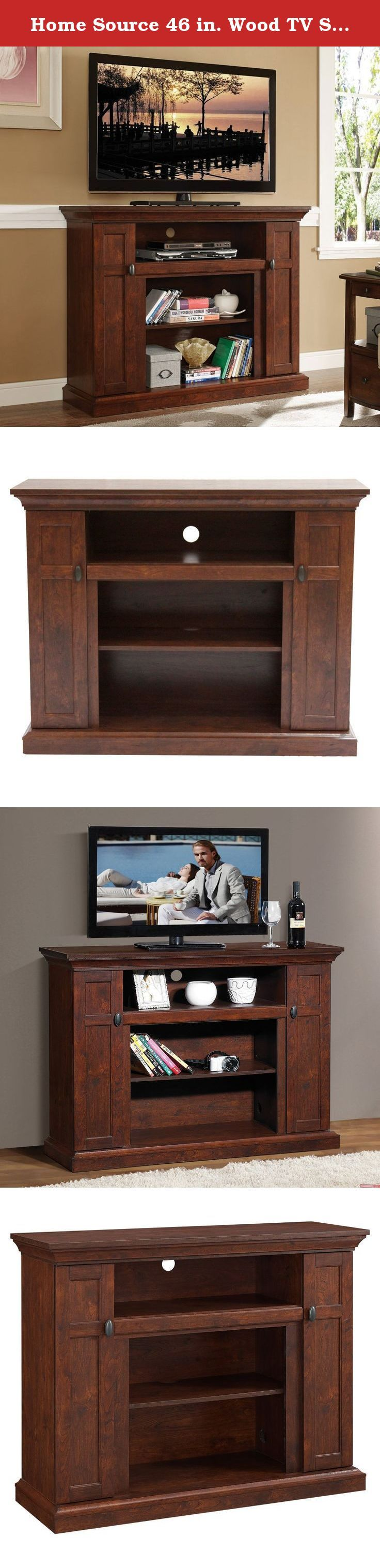 Home Source 46 in. Wood TV Stand -. For top-notch entertainment, the Home Source 46 in. Wood TV Stand - Dark Walnut comes with three exposed component shelves with wire management back paneling that makes it easy to outfit the entertainment center with the best sound system, HD Blu-ray player, latest generation gaming consoles, and more. The solid stand flaunts a traditional look with molded trim and a dark walnut finish to give your decor a more lavish appeal. In addition to its open...