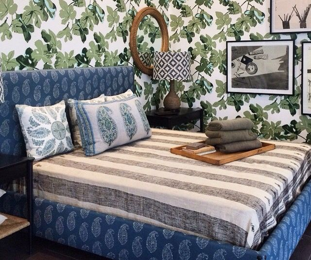 Peter Dunham Textiles Fig Leaf Wallpaper At Hollywood Home