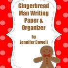 There is a gingerbread person writing organizer to help create an original gingerbread story. There is a cover and writing paper with lines in the shape of a gingerbread man. freebie