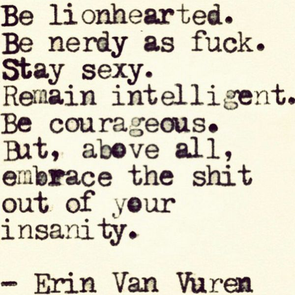 Be lionhearted. Be nerdy as fuck. Stay sexy. Remain intelligent. Be courageous. But, above all, embrace the shit out of your insanity. - Erin Van Vuren