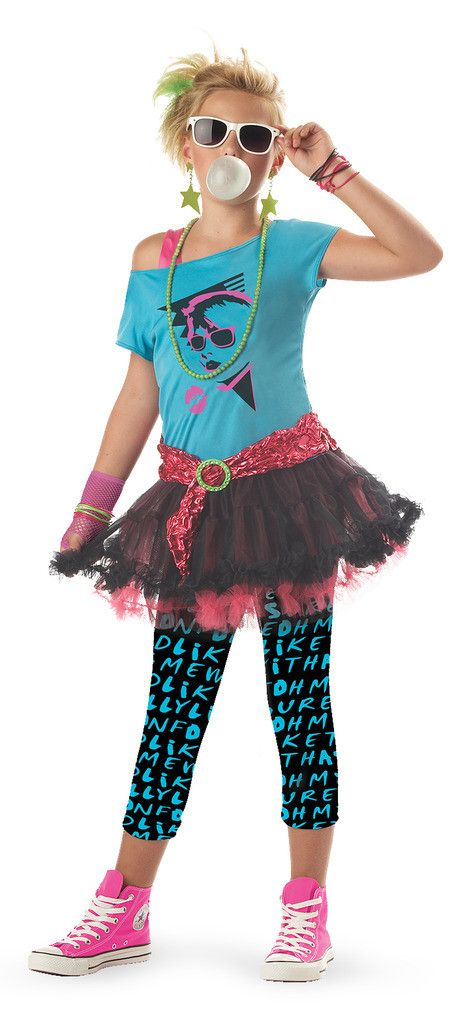 80's Valley Girl Child Costume Includes dress, leggings, one glovelette, and belt. Does not include jewelry, sunglasses, or shoes. Weight (lbs) 0.63 Length (inches) 14.5 Width (inches) 12 Height(inche