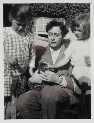 Duncan Grant in the garden at Charleston with his daughter Angelica Bell (right) and her cousin Judith Stephen