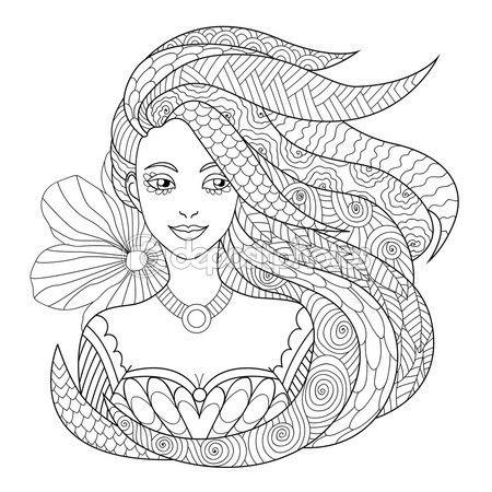 Letöltés - Minta kifestőkönyv. gyönyörű lány. Kézzel rajzolt ábra, zentangle stílusban — Stock Illusztráció #97715190