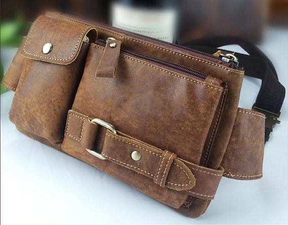 Men's Genuine Leather Waist Bag, Pouch Fanny Pack,Belt Bag,Sport Running bag,Bum Hip Bag,Can hold Wallet,Cellphone,Long Strap,Brown Coffee