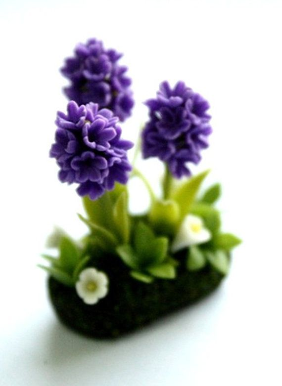 Miniatura piante Polymer Clay fiori forniture per Dollhouse, Giacinto viola, 1 pz
