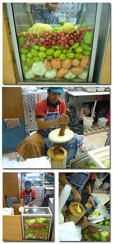 Rujak beubek (tumbuk)  fruits were pounded chillies, salt, brown sugar...the hallmark of sound wood pounder rujak :)