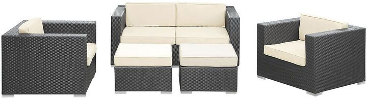Create a comfortable space for outdoor entertaining with this five-piece sofa set. Complete with everything you need to kick back and relax, the set is made of long-lasting all-weather materials, like synthetic rattan, powder-coated aluminum and waterproof fabric on the plush, four-inch-thick cushions.Suitable for outdoor use. Furniture > Outdoor Furniture > Outdoor Lounge Sets.
