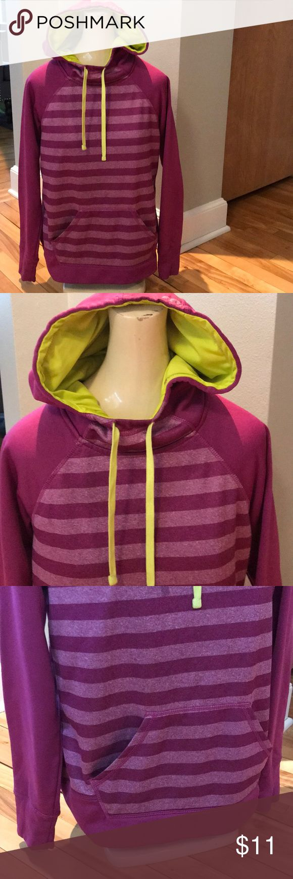 Reebok purple stripe/lime lined hoodie, S/CH Reebok purple stripe hoodie. Solid hem cuff, sleeves and hood. Hood with striped panel down center. Hood lined in lime with lime drawstrings. Lower front kangaroo pouch pocket. 100% polyester. Size small- Childrens. Really close to girls 10-12. Nonsmoking home. Reebok Shirts & Tops Sweatshirts & Hoodies
