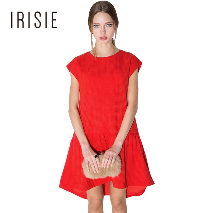 IRISIE Apparel Casual Sexy Chic Women Vestidos Red Ruched One Button Back A-line Dress Loose Draped Basic Female Mini Dress
