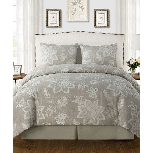 Victoria Classics Taupe Rebecca Comforter Set ($65) ❤ liked on Polyvore featuring home, bed & bath, bedding, comforters, floral bed set, taupe bedding, floral bedding, taupe bed set and tan bedding