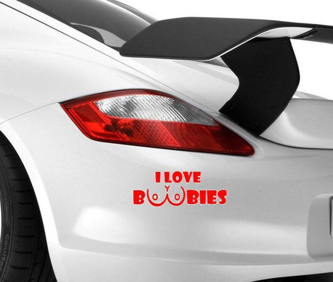 I Love Boobies Funny Car Novelty Bumper Window Vinyl Decal Jdm - Custom vinyl decals for cars jdm