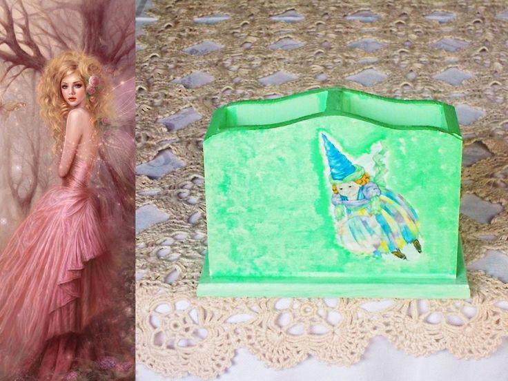 Portamatite portapenne in legno decorato con decoupage pittorico e paste ruvide brillanti : Scuola e tempo libero di lady-bijoux-handmade