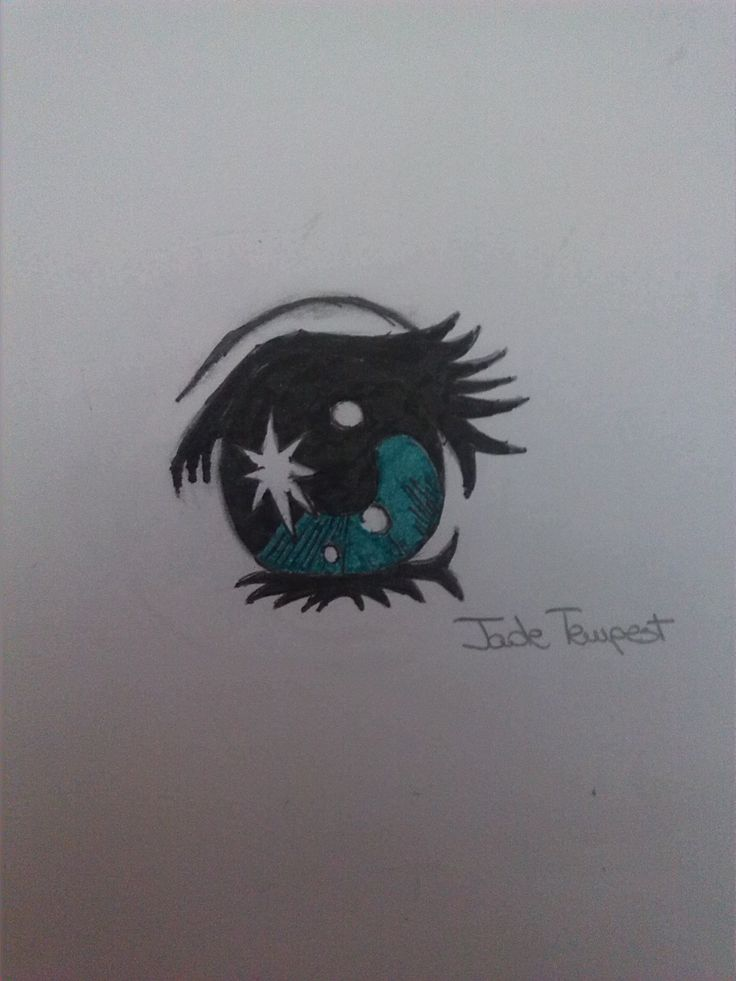 Eye 6. I portraited this by an image I found in Internet. I used a pencil, the china pen and the aqua marker.