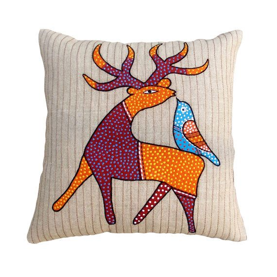 "SALE 50% discount, linen pillow cover, deer, tribal, bohemian, Indian, craft, folk motif, appliqued & embroidered pillow size 16""X 16"""