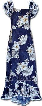 Hawaiian Clothing Muumuu (Navy)Plumeria Floral100% Cotton
