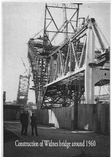 FANTASTIC PHOTO OF THE CONSTRUCTION OF THE WIDNES BRIDGE