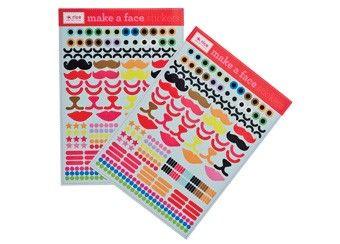 decoratieve feest stickers 'make a face' Rice | kinderen-shop Kleine Zebra