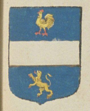 Feu Florentin POUSSINEAU, trésorier de France au bureau des finances de Poitiers, suivant la déclaration de Marie OSTRAN, sa veuve. Porte : d'azur, à une fasce d'argent, accompagnée en chef d'un poussin ou poulet d'or, creté, bequé et membré de gueules, et en pointe d'un lion d'or, lampassé et armé de gueules   N° 223
