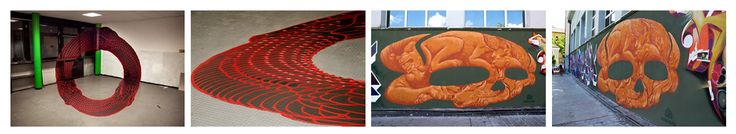 Anamorphic Murals,  A team of creative graffiti artist called Truly Design created these cool anamorphic graffiti pieces. The artwork is only recognizable from one very specific vantage point. From that specific perspective the mural seems to float as a two dimensional image in mid-air. From any other perspective, though, the mural appears to be a warped mess.