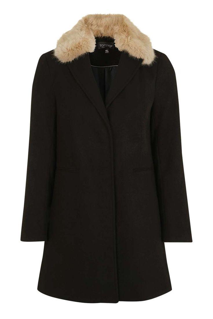 Fur Collar Coat - Topshop