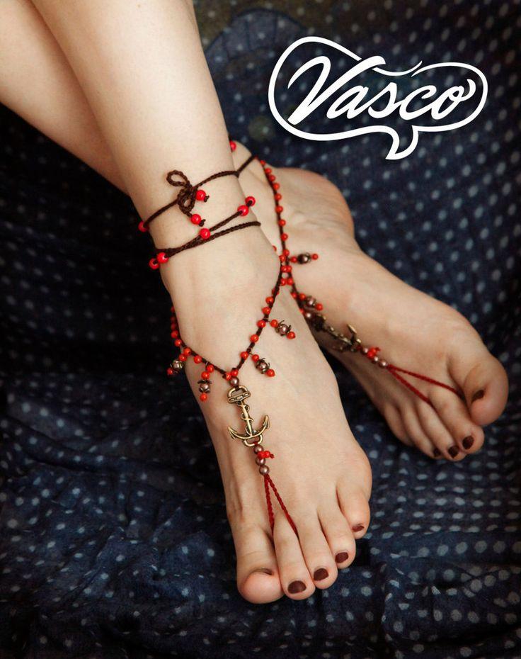 """Ancoraggio sandali a piedi nudi. Scarpe hippy. di VascoDesign---da""""A piedi nudi""""diⓛⓤⓐⓝⓐ"""