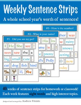 Weekly Sentence Strips Book - 40 Weeks of Pre-Made Sentence Strips PREVIEW AVAILABLE from Velerion Damarke on TeachersNotebook.com -  (66 pages)  - Get a whole year's worth of sentence strips already made in this book! 40 weeks of sentences for classwork or homework.