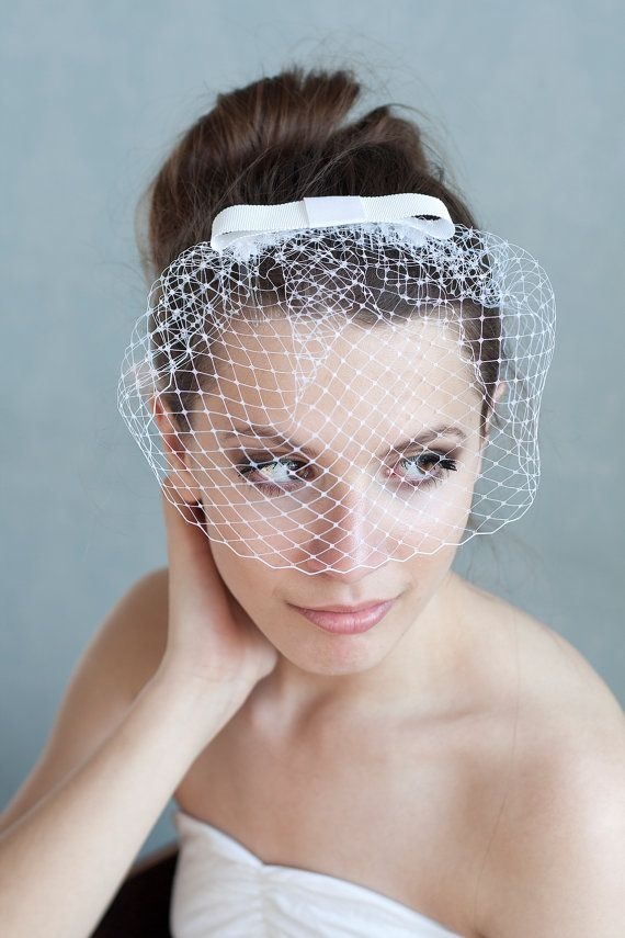 Birdcage veil with bow bridesmaid birdcage by BeChicAccessories, $39.00