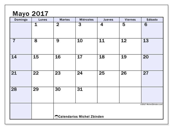 Gratis! Calendarios para mayo 2017 para imprimir - EE.UU
