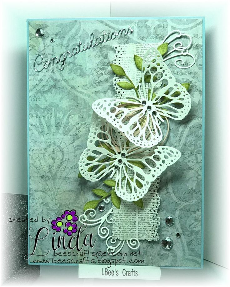 L-Bee | docrafts.com   Wedding card with a difference... various unbranded dies, coloured added using TH Distress Inks, accented with crystal gems & Britannia Congratulations word die... TFL x