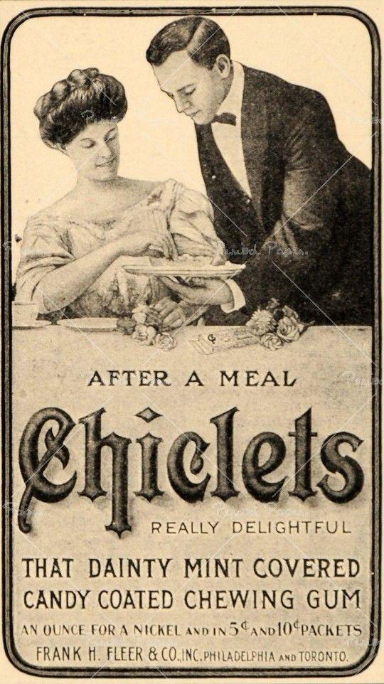 Chicklet Gum Ad by Frank H. Fleer. 1909.