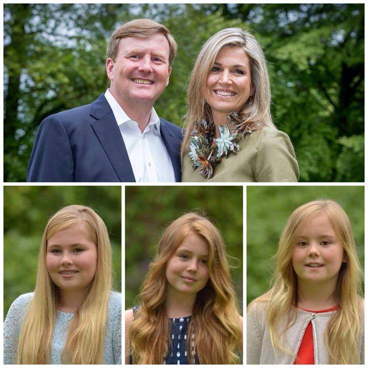 Koning Willem Alexander, Koningin Máxima en hun dochters Prinses Amalia, Prinses Alexia en Prinses Ariane. Juli. 2016