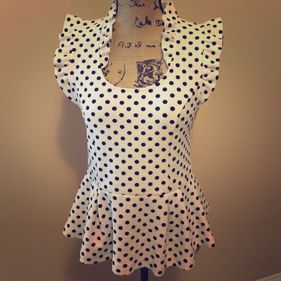 Shop Women's An Black White size M Tops at a discounted price at Poshmark. Description: You can't get any cuter then this polka dot peplum top from Anthropologie! Ruffled scoop neck and sleeves. Worn once, perfect condition. So fab!!!. Sold by nrocco29. Fast delivery, full service customer support.