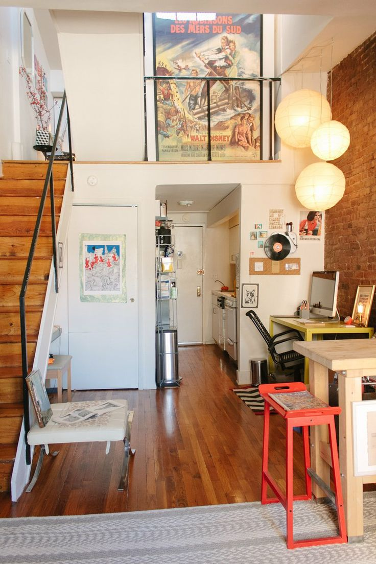 Cb 39 s quirky personal duplex house tours in kitchen for Small space homes