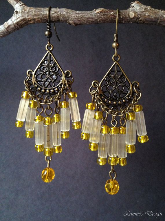 Yellow Antiqued Brass Chandelier Earrings Posts Hooks or