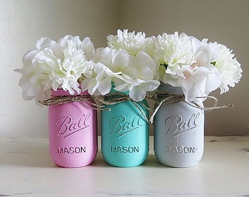 Pink Teal Gray Distressed Mason Jars Baby Shower