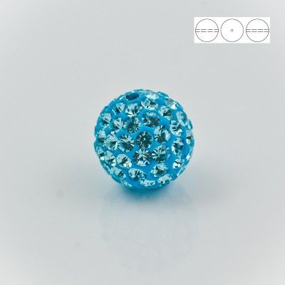 Discoball Bead 14mm Aquamarine  Dimensions: 14mm Stones which were used in a ball are from Preciosa Company  1 package = 1 piece