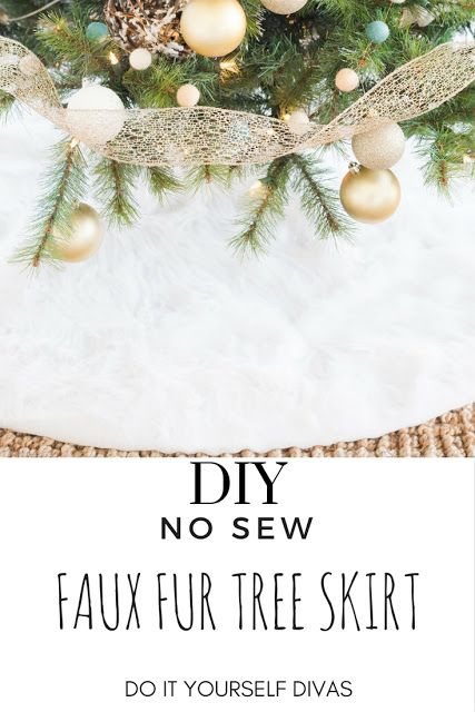 do it yourself divas: DIY No Sew Faux Fur Christmas Tree Skirt Plus Woodland Christmas Tree Decor. #nosew #diy #treeskirt White fur tree skirt is a beautiful accent piece for your christmas decor.