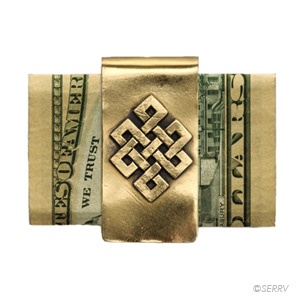Endless Knot Money Clip  Copper money clip embellished with a raised pattern of the endless knot, one of the eight auspicious symbols of Buddhism, representing the interrelation of all things. 2 in. l x 1 in. w Made in Nepal $15