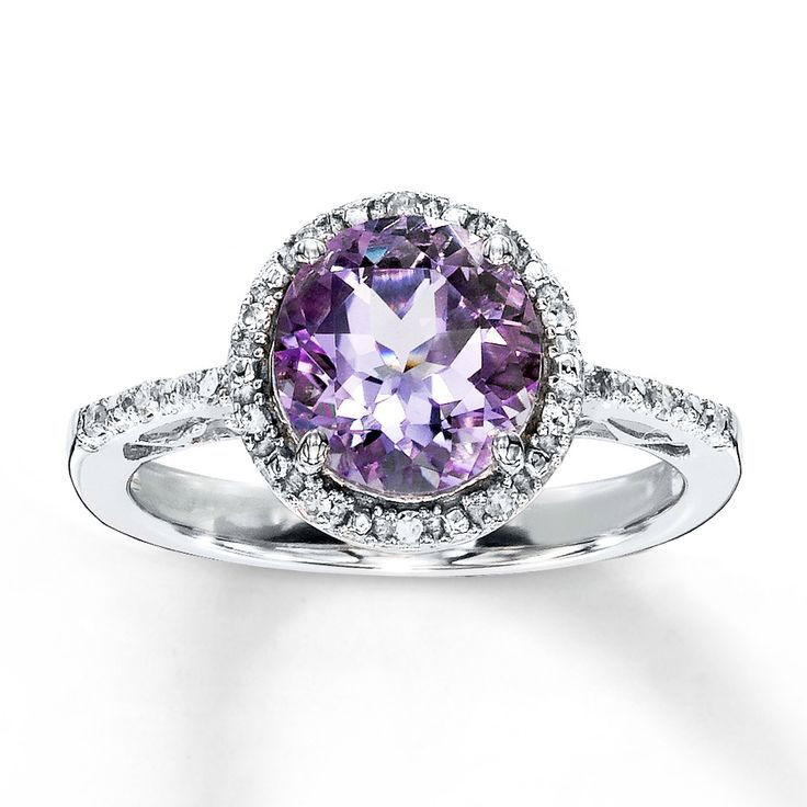 amethyst ring round cut with diamonds sterling silver purple engagement - Purple Wedding Rings