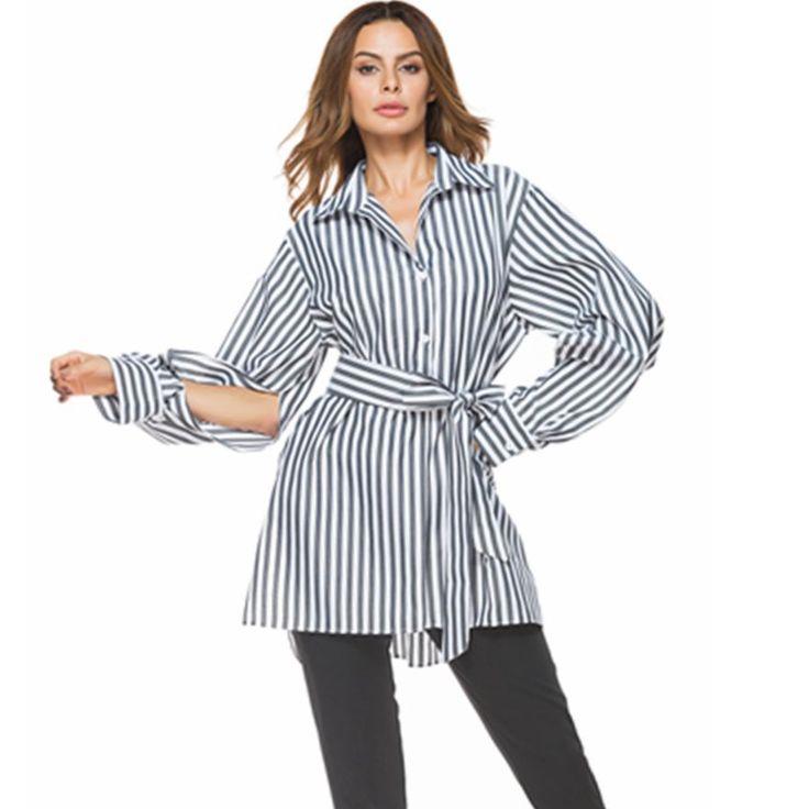 Casual Stripe Tie Waist Slit Long Sleeve Lapel Women Shirts Cheap - NewChic Mobile.