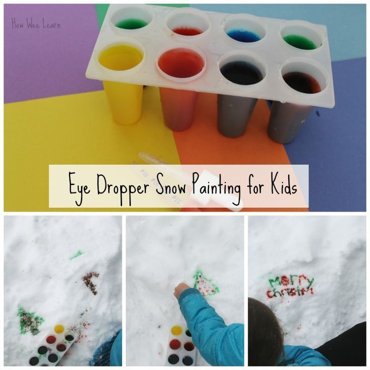 Snow painting with kids in winter using an eye dropper. These make great snow day activities