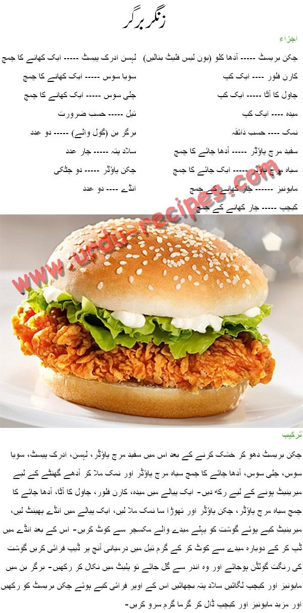 Zinger Burger Recipe in Urdu