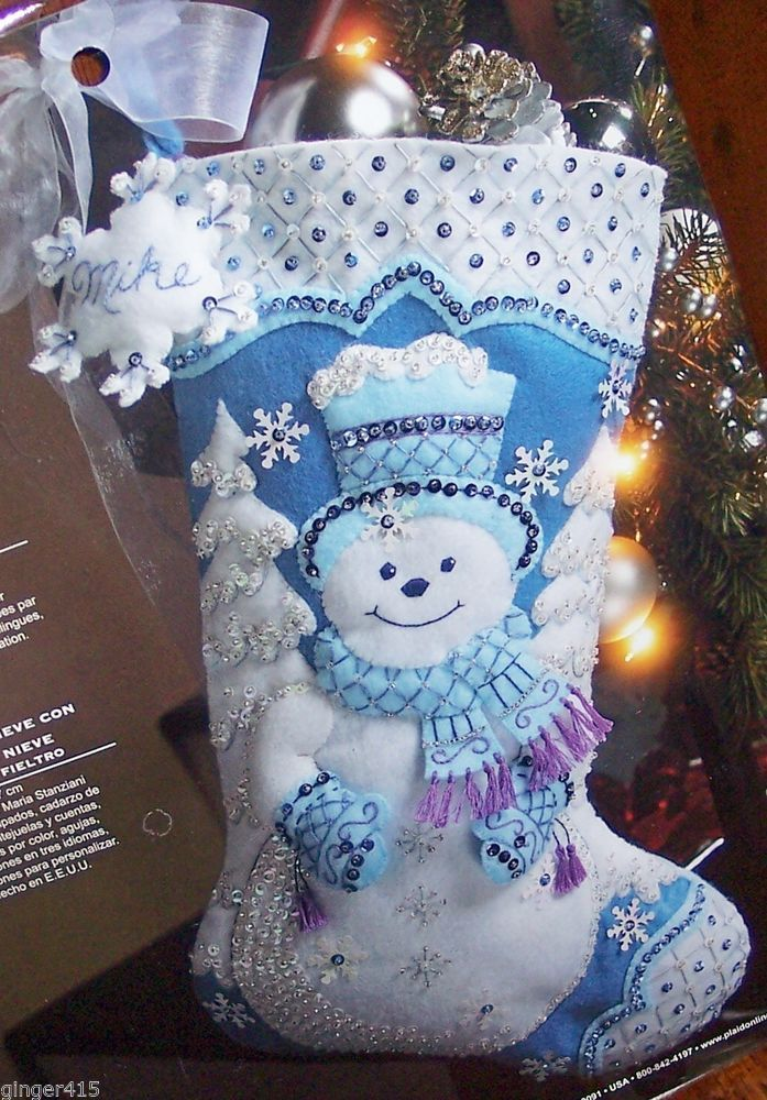Bucilla SNOWFLAKE SNOWMAN Felt Christmas Stocking Kit Original White Blue