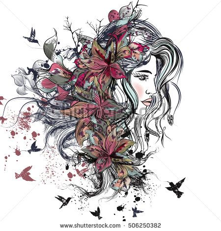 Art fashion illustration with hand drawn detailed beautiful female face with long hair, spots, lily flowers and birds. Bo ho style