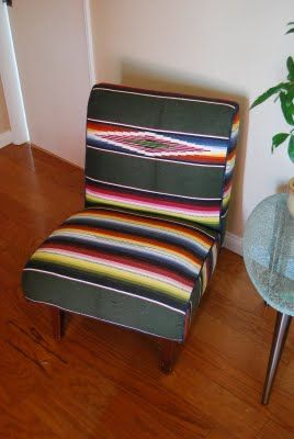 Chair Upholstered With Old Serape Mexican Mexico