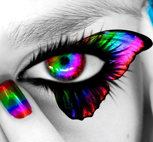 de l arc-en-ciel Toni Kami Colorful eye butterfly color splashColor Splash Eyes