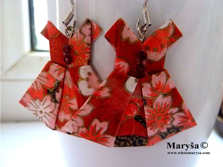 Red Origami Dress earrings Dress dangle  Red earrings Washi earrings  Red Japanese Dress with flowers Gift for her Romantic Gift Idea by MarysaArt on Etsy