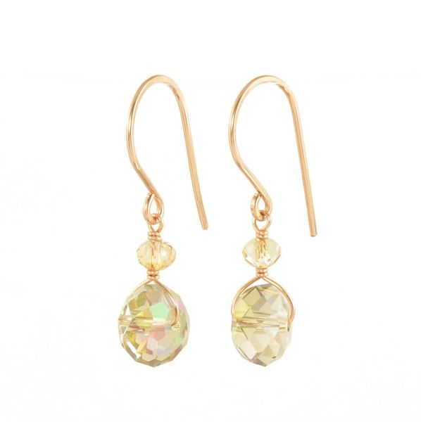 South Paw Studios Handcrafted Designer Jewelry - Shimmering Koi Swarovski Crystal Rose Gold filled earrings