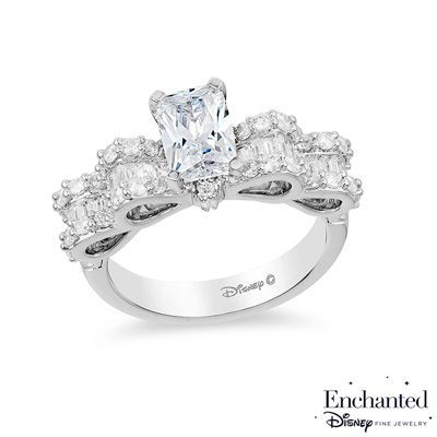 Enchanted Disney Snow White 1-3/4 CT. T.W. Emerald-Cut Diamond Bow Engagement Ring in 14K White Gold - View All Rings - Zales